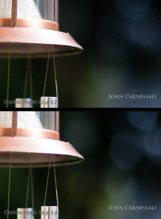 Review and Tests comparing the Canon 50mm 1.4 vs Canon 50mm 1.2 Chromatic Aberration and Bokeh Detail