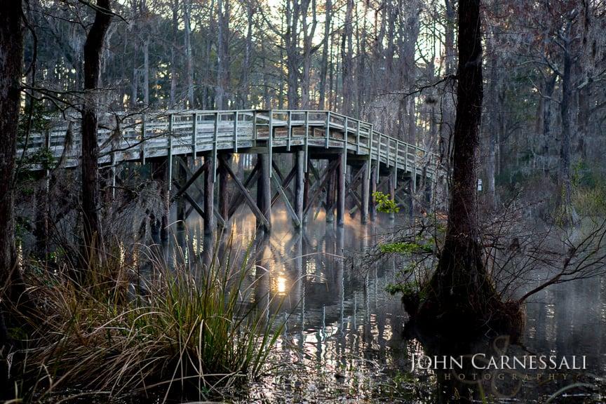 Beautiful Wooden Bridge in Greenfield Lake