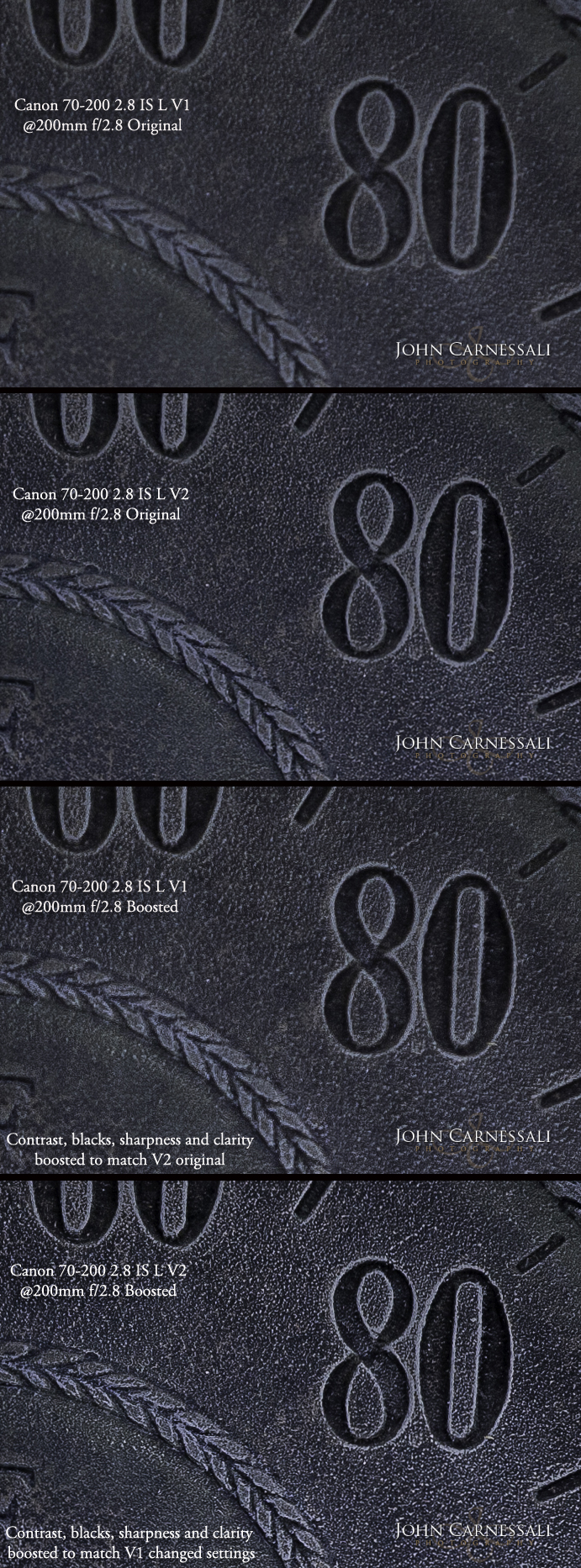 Original Canon 70-200 2.8 L I and II compared with increased sharpness, contrast, and clarity applied in Lightroom